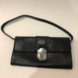 Harley Davidson leather clutch purse with strap